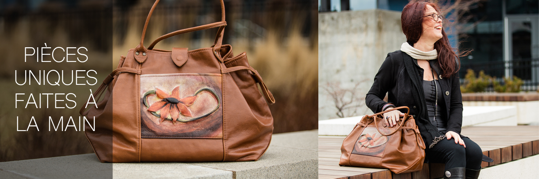 sac à main - handbag - Conception Cuir boutique en ligne accessoires et sacs à main en cuir véritable fait à la main au Québec